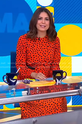 Cecilia's orange polka dot dress on Good Morning America