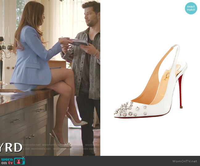 Drama Sling 100mm Spike Leather Red Sole Pumps by Christian Louboutin worn by Fallon Carrington (Elizabeth Gillies) on Dynasty