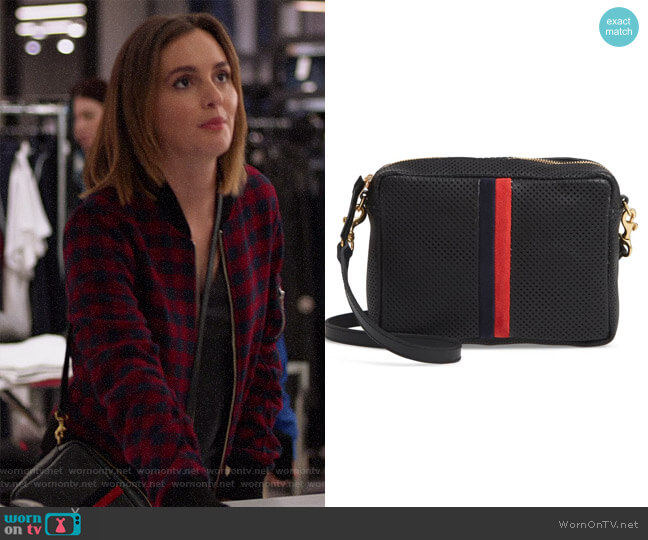 Midi Sac Perforated Leather Crossbody Bag by Clare V worn by Angie (Leighton Meester) on Single Parents