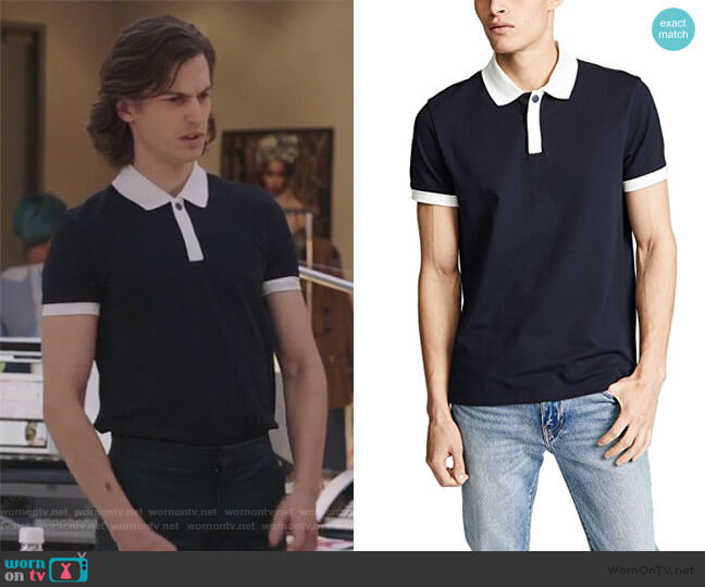 Piped Shoulder Polo Shirt by Club Monaco worn by Peter Vack on The Bold Type