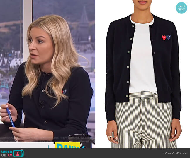 Heart Wool Cardigan by Comme des Garçons PLAY worn by Morgan Stewart  on E! News
