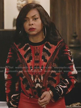 Cookie's red printed sweater on Empire