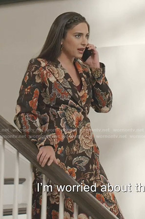 Cristal's black floral jacquard coat on Dynasty