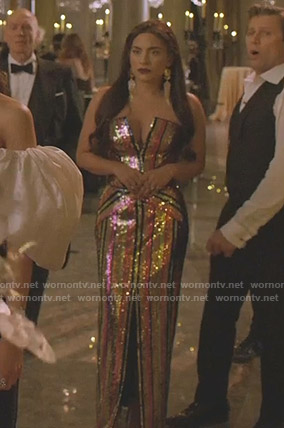 Cristal's sequin strapless gown on Dynasty