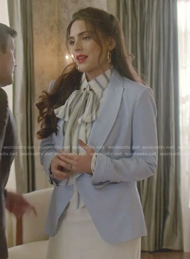 Cristal's white striped blouse and blue blazer on Dynasty