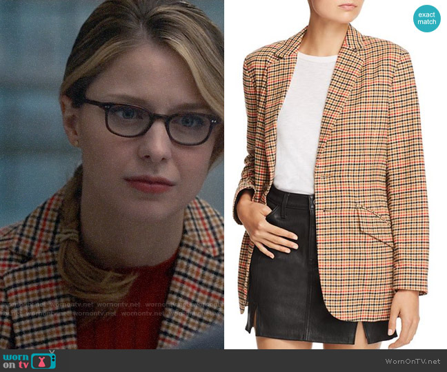 Current/Elliott The Date Night Plaid Blazer worn by Kara Danvers (Melissa Benoist) on Supergirl