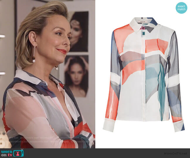 Ada Expressionist Chiffon Blouse by Cushnie worn by Jacqueline (Melora Hardin) on The Bold Type