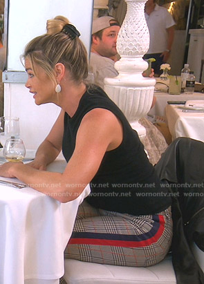 Denise's plaid side striped pants on The Real Housewives of Beverly Hills