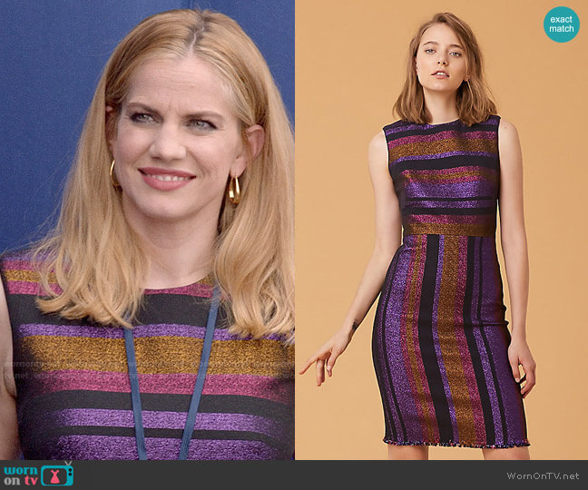 Diane von Furstenberg Metallic Stripe Sheath Dress worn by Amy Brookheimer (Anna Chlumsky) on Veep