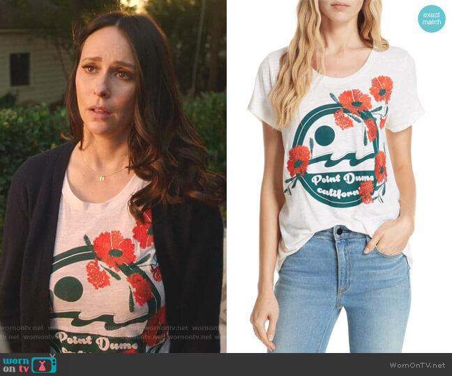 Point Dume Embroidered Tee by Dolan worn by Maddie Kendall (Jennifer Love Hewitt) on 9-1-1