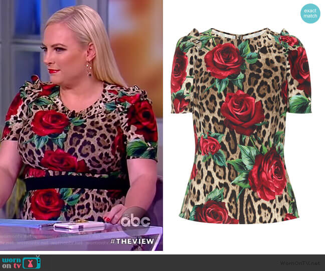 Leopard and floral-printed top by Dolce & Gabbana worn by Meghan McCain  on The View