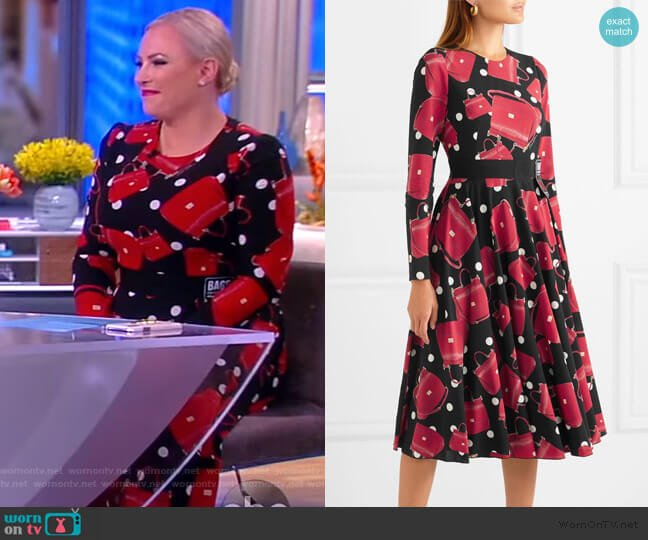 Printed stretch-silk chiffon midi dress by Dolce & Gabbana worn by Meghan McCain  on The View