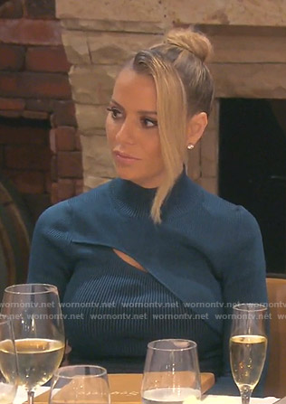 Dorit's blue ribbed cutout dress on The Real Housewives of Beverly Hills