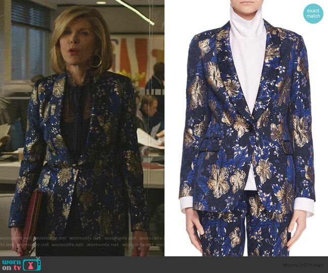 Metallic Floral-Jacquard Blazer Jacket by Dries Van Noten worn by Diane Lockhart (Christine Baranski) on The Good Fight