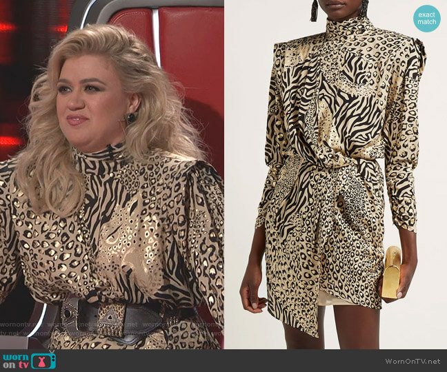 Gilded Print Dress by Dundas worn by Kelly Clarkson  on The Voice