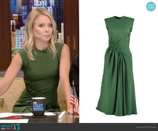 Bottle Green Pina Midi Dress by Edeline Lee worn by Kelly Ripa (Kelly Ripa) on Live with Kelly & Ryan