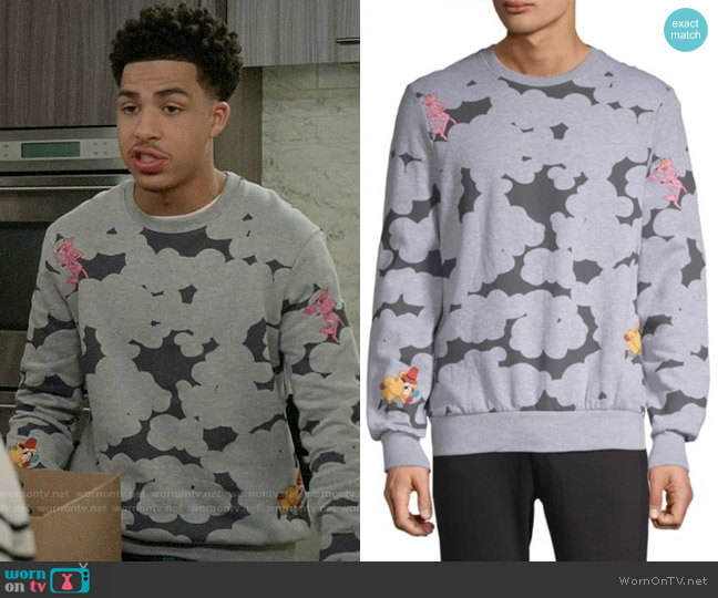 Eleven Paris Abstract Pink Panther Graphic Sweatshirt worn by Andre Johnson Jr (Marcus Scribner) on Blackish