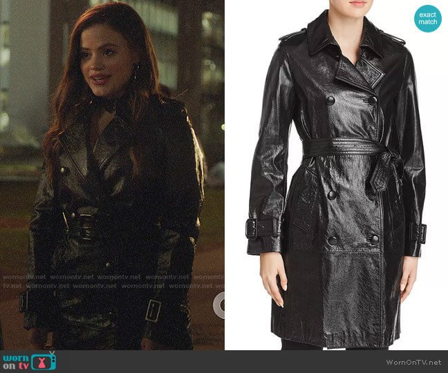 Elie Tahari Natania Leather Trench Coat worn by Maggie Vera (Sarah Jeffery) on Charmed