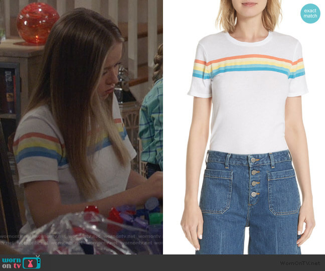 Rainbow Stripe Tee by Elizabeth and James worn by Samantha Hughes (Holly Barrett) on Life in Pieces