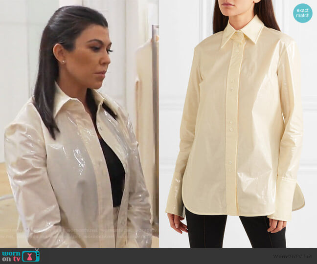 Cutout vinyl shirt by Ellery worn by Kourtney Kardashian  on Keeping Up with the Kardashians