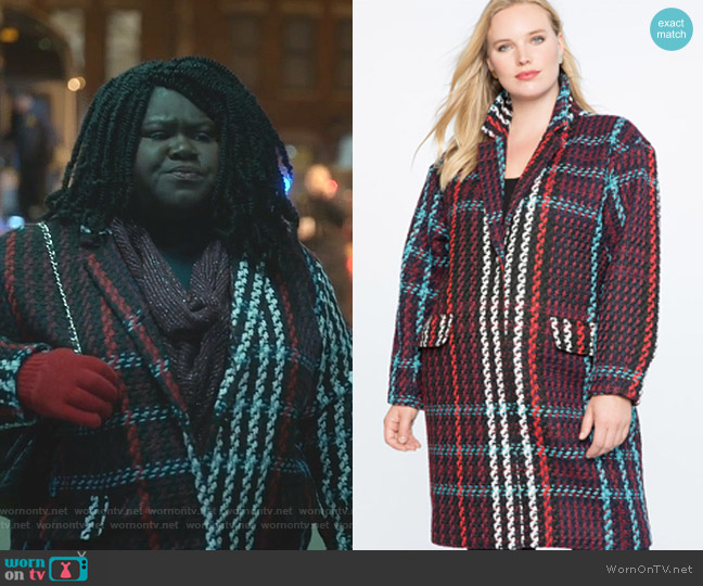 Plaid Car Coat by Eloquii worn by Becky (Gabourey Sidibe) on Empire