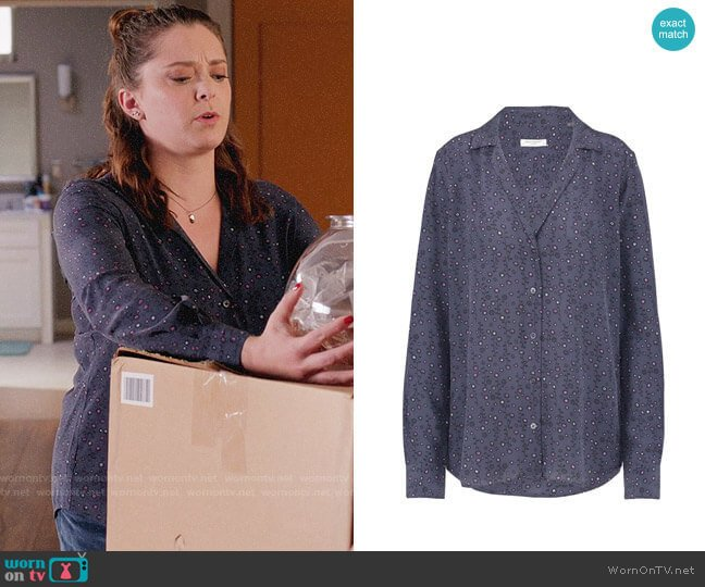 Equipment Adalyn Shirt in Blue Mood worn by Rebecca Bunch (Rachel Bloom) on Crazy Ex-Girlfriend