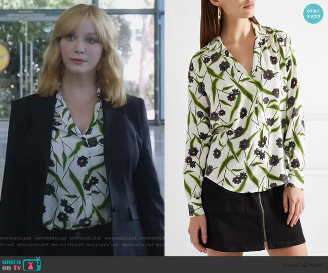 Adalyn floral-print washed-silk shirt worn by Beth Boland (Christina Hendricks) on Good Girls
