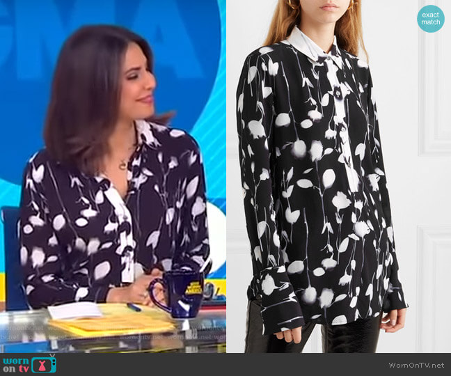 Eleonore Shirt by Equipment worn by Cecilia Vega  on Good Morning America