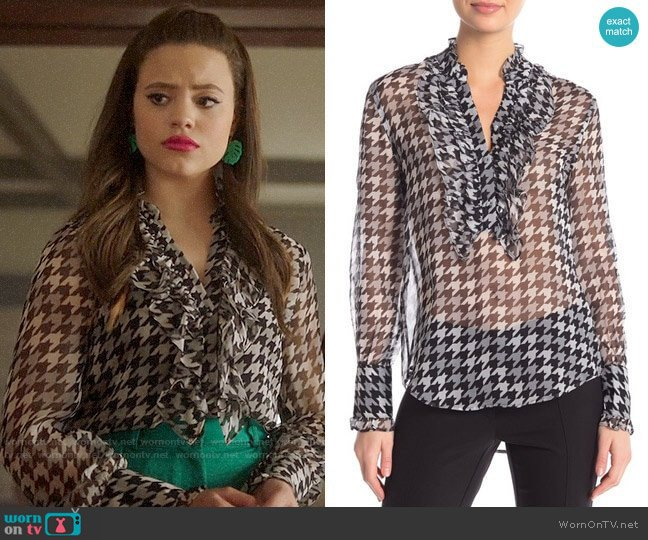 Equipment Samine Houndstooth Top worn by Maggie Vera (Sarah Jeffery) on Charmed