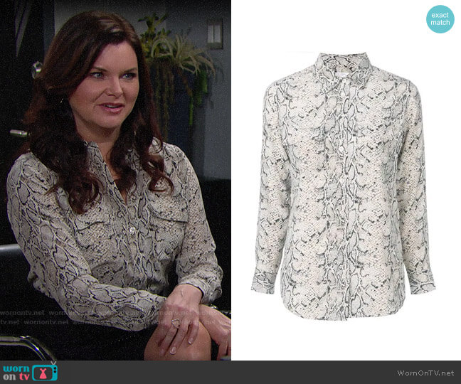Equipment Slim Signature Python Print Shirt worn by Katie Logan (Heather Tom) on The Bold & the Beautiful