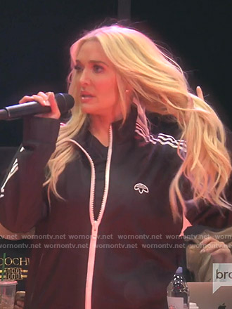 Erika's black Adidas track jacket on The Real Housewives of Beverly Hills