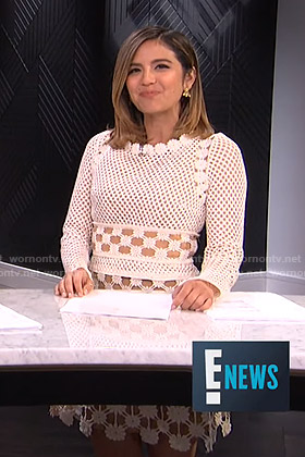 Erin's white crochet dress on E! News