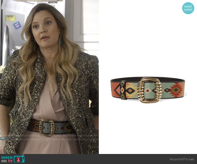 Etro Embroidered leather waist belt worn by Sheila Hammond (Drew Barrymore) on Santa Clarita Diet