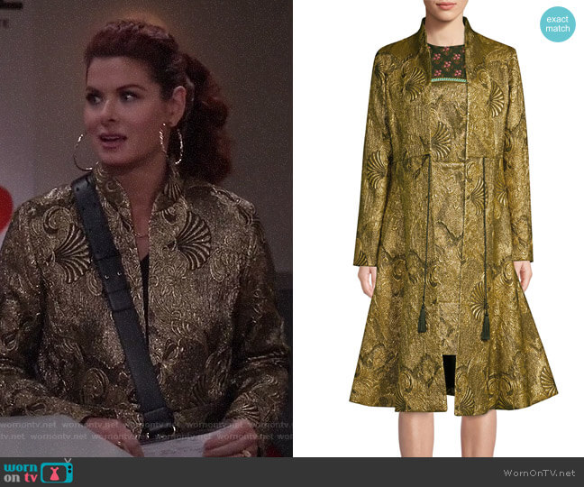 Jacquard Flare Topper Coat by Etro worn by Grace Adler (Debra Messing) on Will & Grace