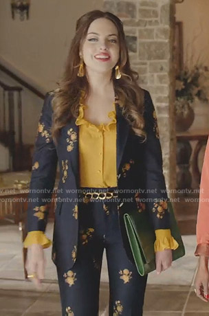 Fallon's yellow ruffle blouse and floral suit on Dynasty