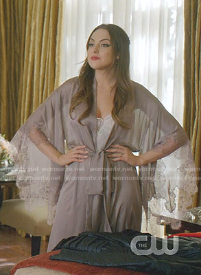 Fallon's lace trimmed robe on Dynasty
