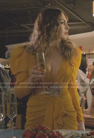 Fallon's orange embroidered mini dress on Dynasty