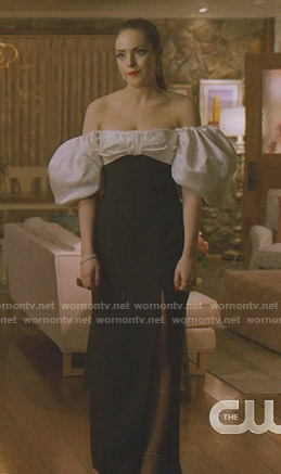 Fallon's white and black off-shoulder gown on Dynasty