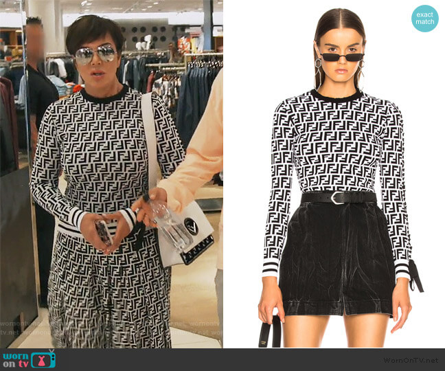Logo Print Viscose Sweater by Fendi worn by Kris Jenner  on Keeping Up with the Kardashians