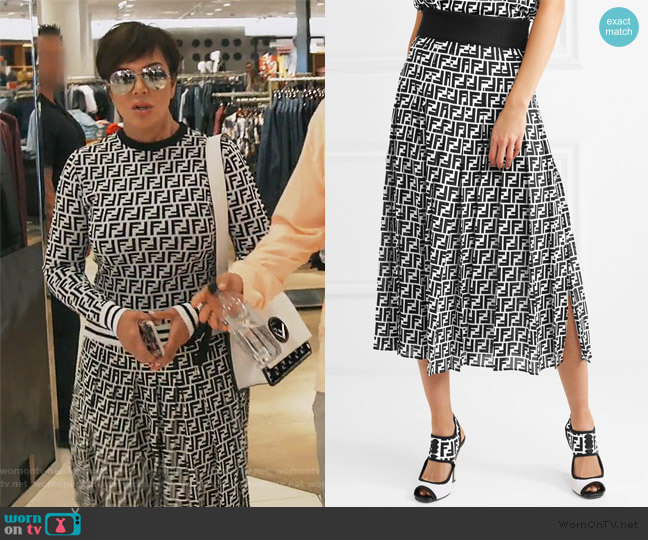 Printed silk-georgette midi skirt by Fendi worn by Kris Jenner  on Keeping Up with the Kardashians