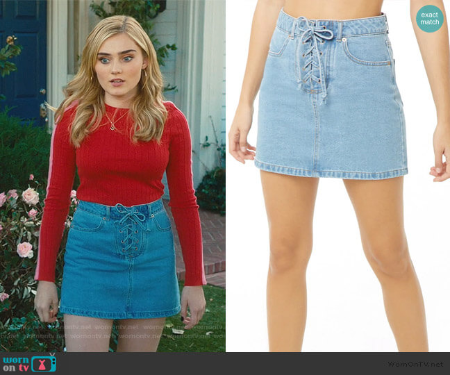Lace-Up Denim Skirt by Forever 21 worn by Taylor Otto (Meg Donnelly) on American Housewife