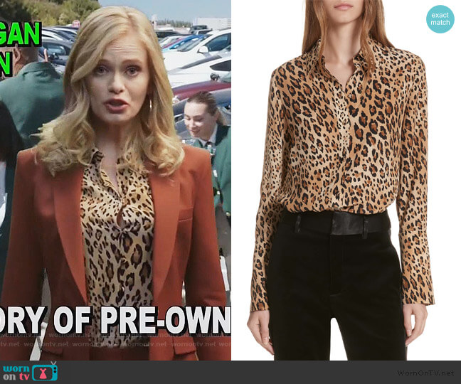 Leopard Print Silk Blouse by Frame worn by  Sara Paxton on The Good Girls