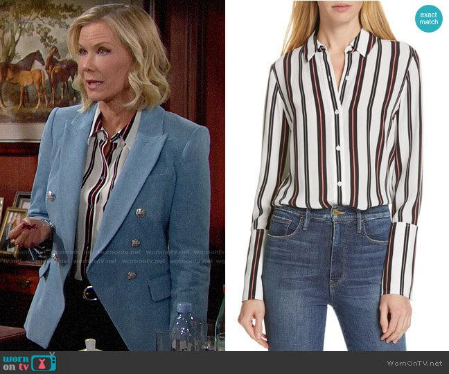 Frame Stripe Pajama Shirt  worn by Brooke Logan (Katherine Kelly Lang) on The Bold & the Beautiful