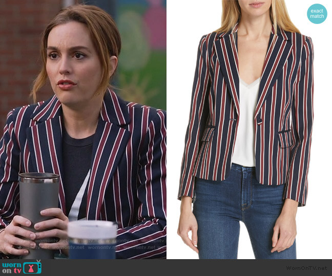 Stripe Shrunken Blazer by Frame worn by Angie (Leighton Meester) on Single Parents