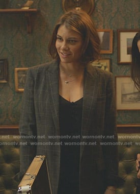 Frankie's grey checked blazer on Whiskey Cavalier