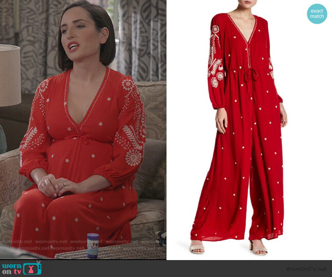 Embroidered Jumpsuit by Free People worn by Jennifer Short (Zoe Lister-Jones) on Life in Pieces