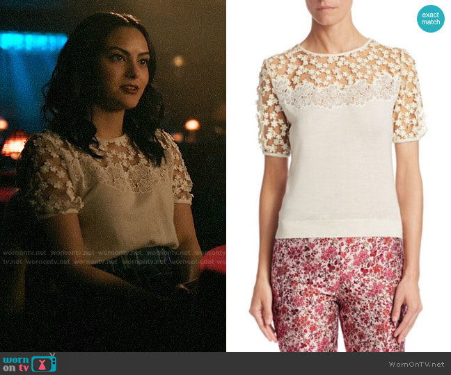 Giambattista Valli Floral Mesh Cashmere & Silk Top worn by Veronica Lodge (Camila Mendes) on Riverdale
