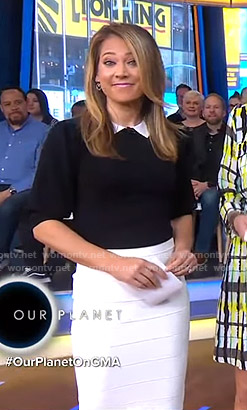 Ginger's contrast collar top and white skirt on Good Morning America