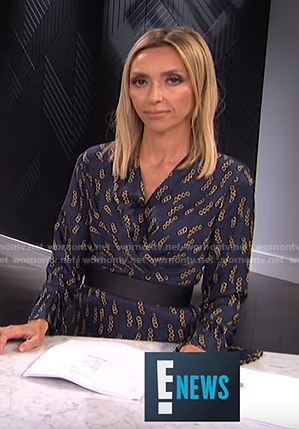 Giuliana's blue chain print dress on E! News