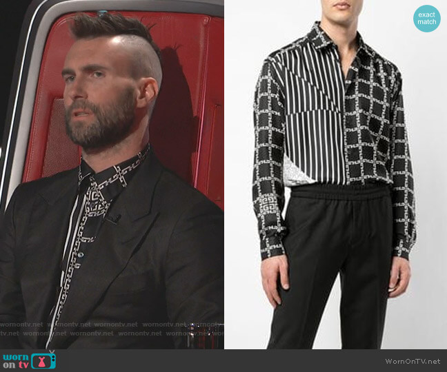 hain and Stripe-Print Shirt by Givenchy worn by Adam Levine  on The Voice